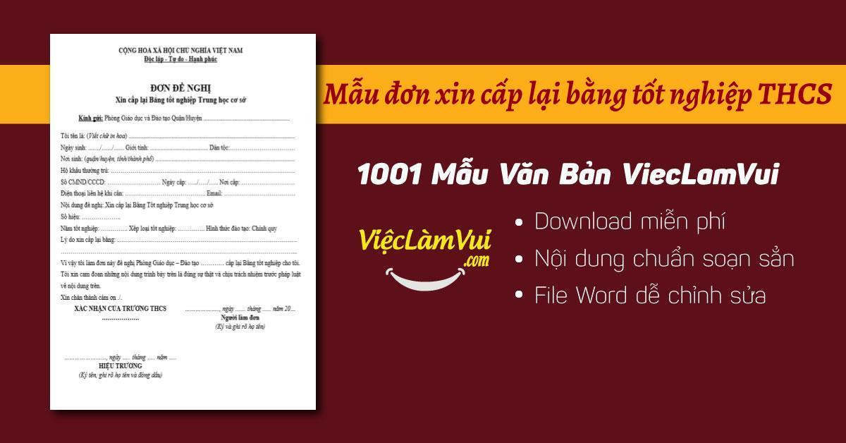 Mẫu đơn xin cấp lại bằng tốt nghiệp THCS - ViecLamVui