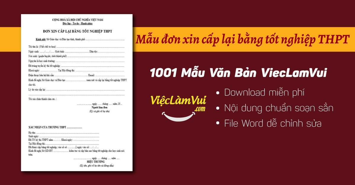 Đơn xin cấp lại bằng tốt nghiệp THPT - ViecLamVui