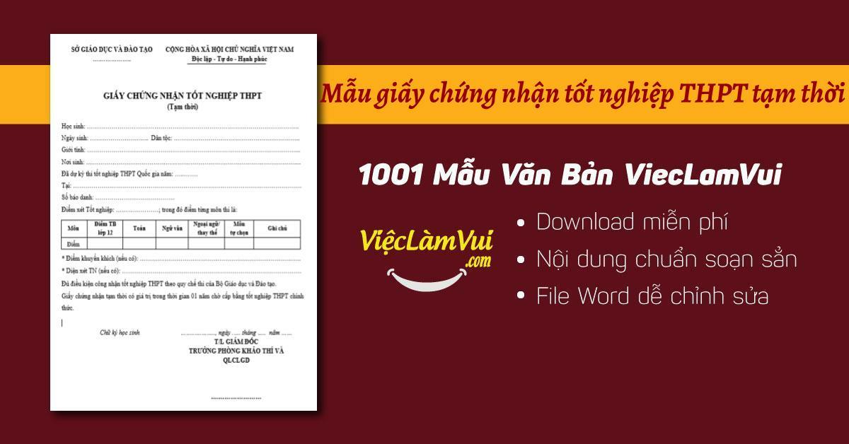 Mẫu giấy chứng nhận tốt nghiệp THPT tạm thời - ViecLamVui