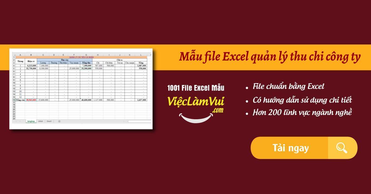 Mẫu file Excel quản lý thu chi công ty