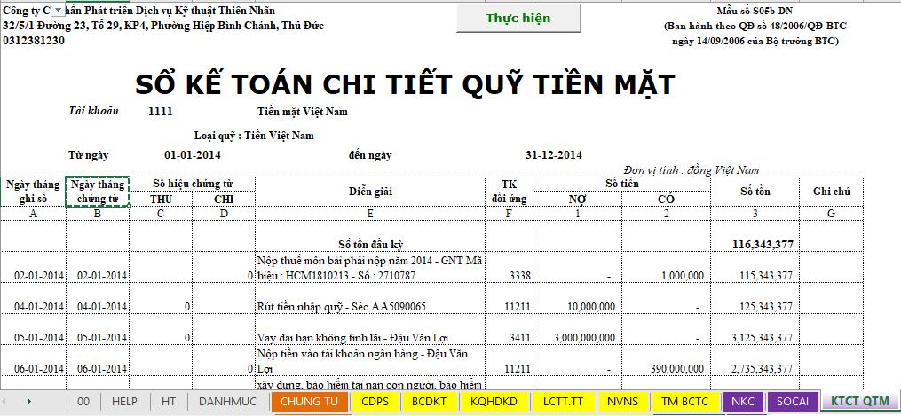 Sheet sổ kế toán chi tiết quỹ tiền mặt