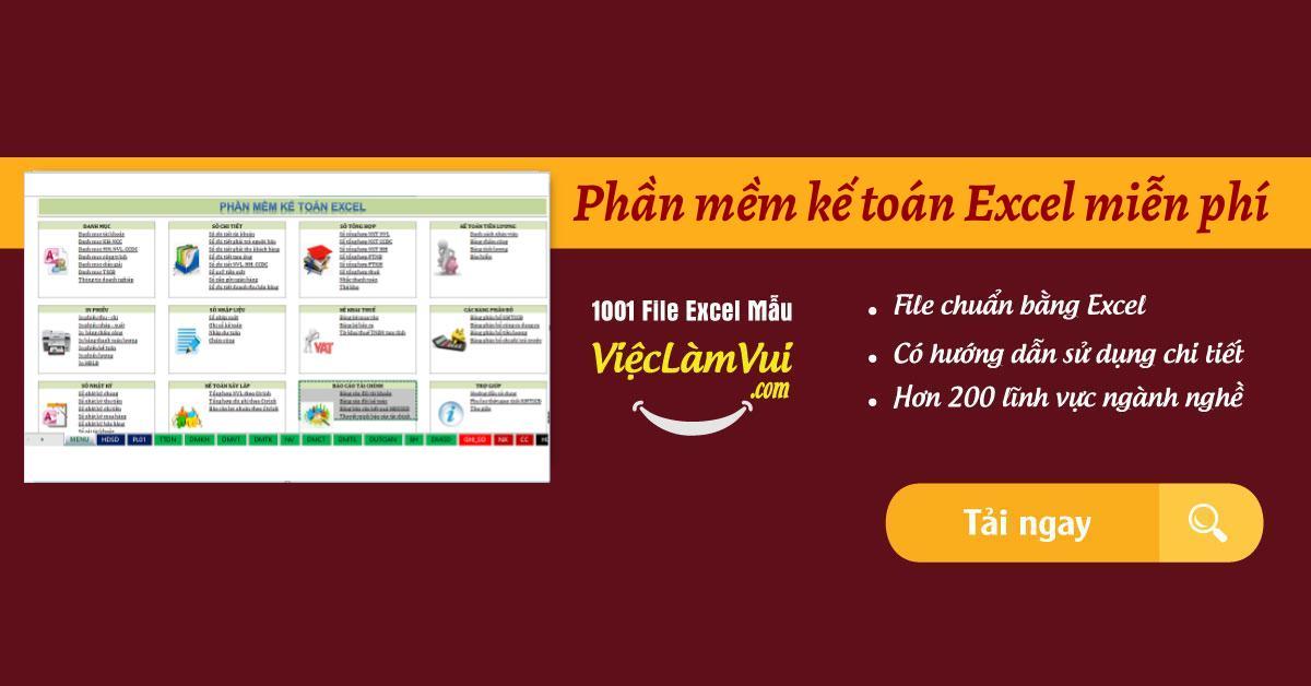 Phần mềm kế toán Excel miễn phí