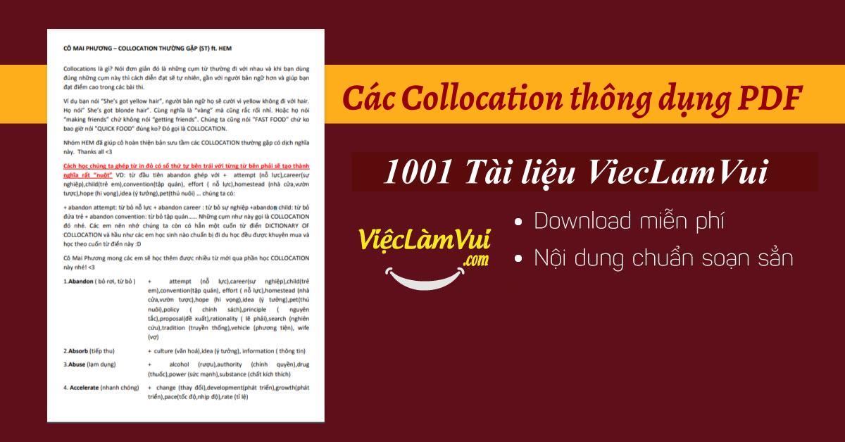 các Collocation thông dụng PDF