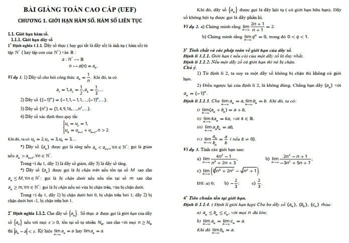 Bài giảng toán cao cấp 1 - ViecLamVui