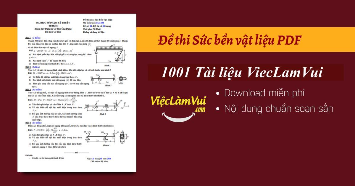 Đề thi Sức bền vật liệu PDF