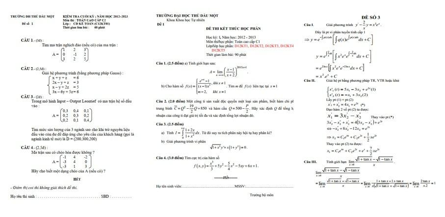 Đề thi toán cao cấp 1 có lời giải - ViecLamVui