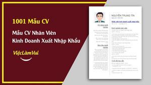 Mẫu CV Nhân Viên Kinh Doanh Xuất Nhập Khẩu