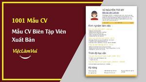 Mẫu CV Biên Tập Viên Xuất Bản