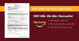 Mẫu đơn xin visa Hàn Quốc