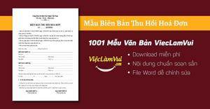 Mẫu biên bản thu hồi hoá đơn chi tiết chuẩn nhất