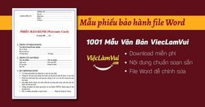Top 33 mẫu phiếu bảo hành file Word