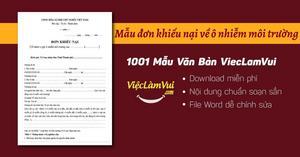 Mẫu đơn khiếu nại về ô nhiễm môi trường file Word