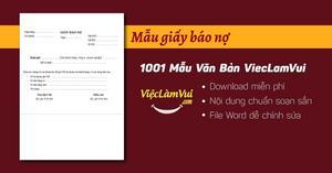Mẫu giấy báo nợ file Word