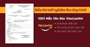Mẫu thư mời nghiệm thu công trình file Word
