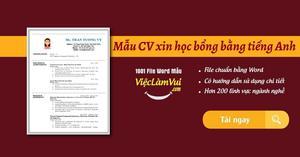 Mẫu CV xin học bổng bằng tiếng Anh file Word