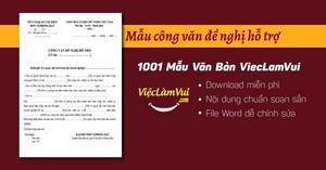 Mẫu công văn đề nghị hỗ trợ file Word