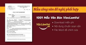Mẫu công văn đề nghị phối hợp file Word