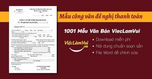 Mẫu công văn đề nghị thanh toán file Word