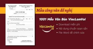 Mẫu công văn đề nghị thường dùng nhất file Word