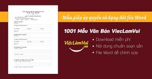 Mẫu giấy ủy quyền sử dụng đất file Word