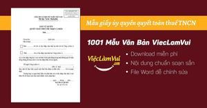 Giấy ủy quyền quyết toán thuế TNCN - mẫu 02/UQ-QTT-TNCN file Word