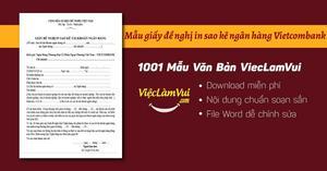 Mẫu giấy đề nghị in sao kê ngân hàng Vietcombank file Word
