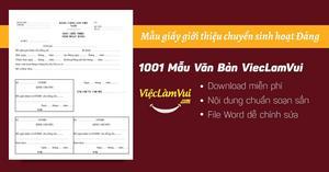 Mẫu giấy giới thiệu chuyển sinh hoạt Đảng file Word