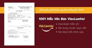 Mẫu giấy giới thiệu chuyển trường file Word