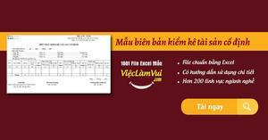 Mẫu biên bản kiểm kê tài sản cố định file Excel