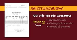 Mẫu CTT25/AC - Bảng kê chứng từ khấu trừ thuế TNCN file Word