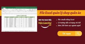 File Excel quản lý shop quần áo