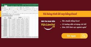 Tải bảng tính lãi vay bằng Excel