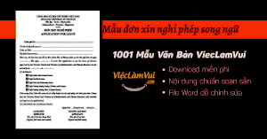 Mẫu đơn xin nghỉ phép song ngữ file Word