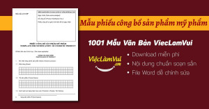 Mẫu phiếu công bố sản phẩm mỹ phẩm file Word