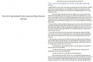 Mẫu câu hỏi tự luận đường lối cách mạng của Đảng cộng sản Việt Nam PDF