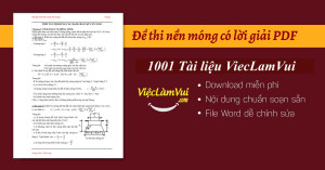 Đề thi nền móng có lời giải PDF