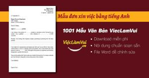 Mẫu đơn xin việc bằng tiếng Anh file Word