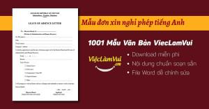 Mẫu đơn xin nghỉ phép tiếng Anh file Word