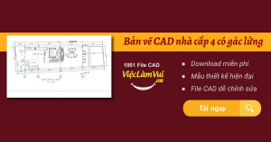 Bản vẽ CAD nhà cấp 4 có gác lửng