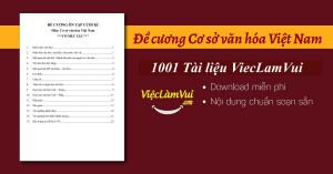 Đề cương Cơ sở văn hóa Việt Nam PDF