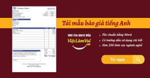 Tải mẫu báo giá tiếng Anh file Excel, Word