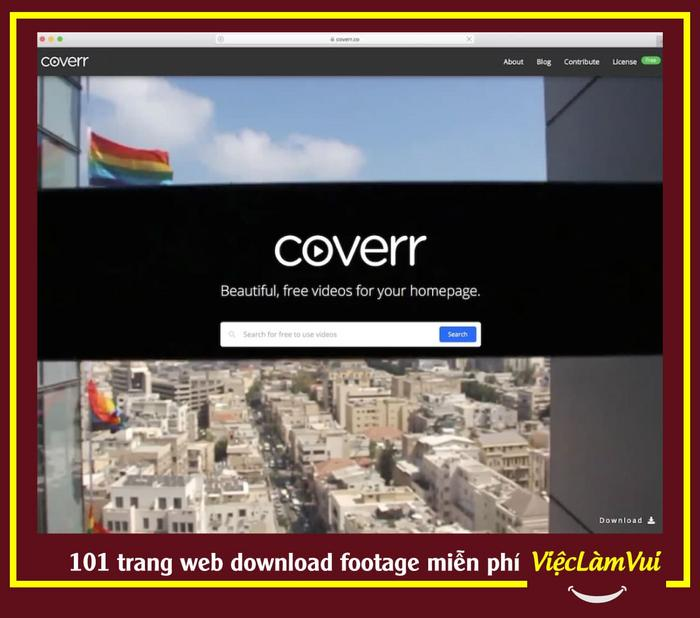 Coverr trang web download footage miễn phí