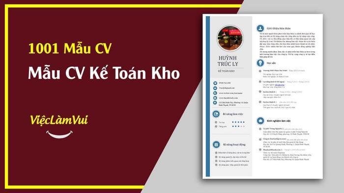 Mẫu CV xin việc kế toán kho - 1001 mẫu cv vieclamvui