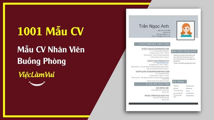 Mẫu CV nhân viên buồng phòng - 1001 mẫu CV ViecLamVui