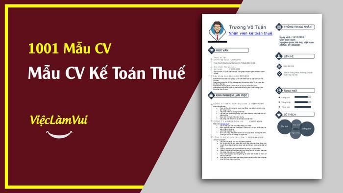 Mẫu CV kế toán thuế - 1001 mẫu CV ViecLamVui