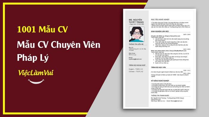 Mẫu CV Chuyên Viên Pháp Lý ViecLamVui