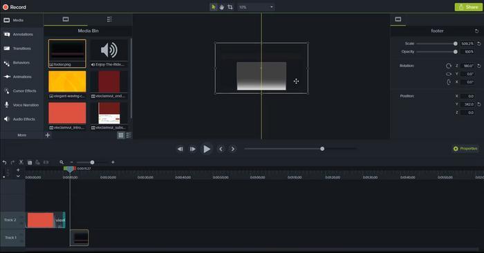 Nếu chữ ở giữa khung thì footer đảo ngược lên và kéo full khung video