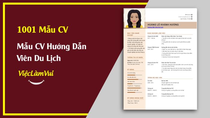 Mẫu CV Hướng dẫn viên du lịch thuộc 1001 mẫu cv vieclamvui