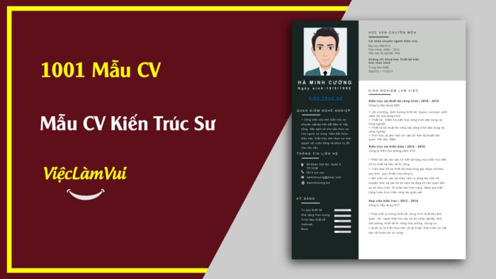 Mẩu CV Kiến Trúc Sư thuộc 1001 mẫu cv vieclamvui
