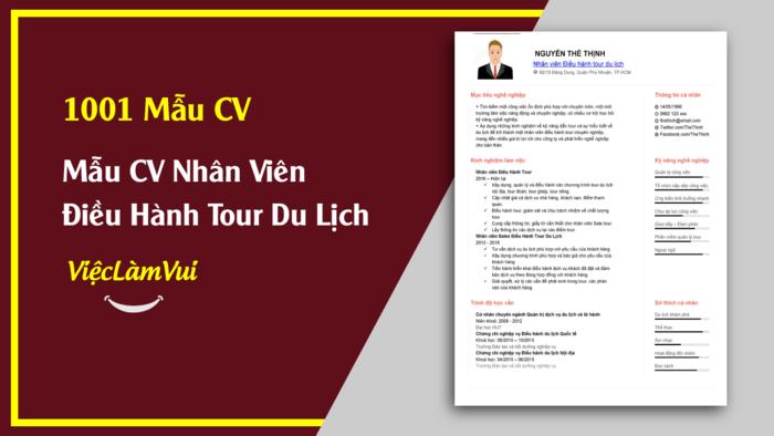 Mẫu CV Điều hành tour thuộc 1001 mẫu cv vieclamvui